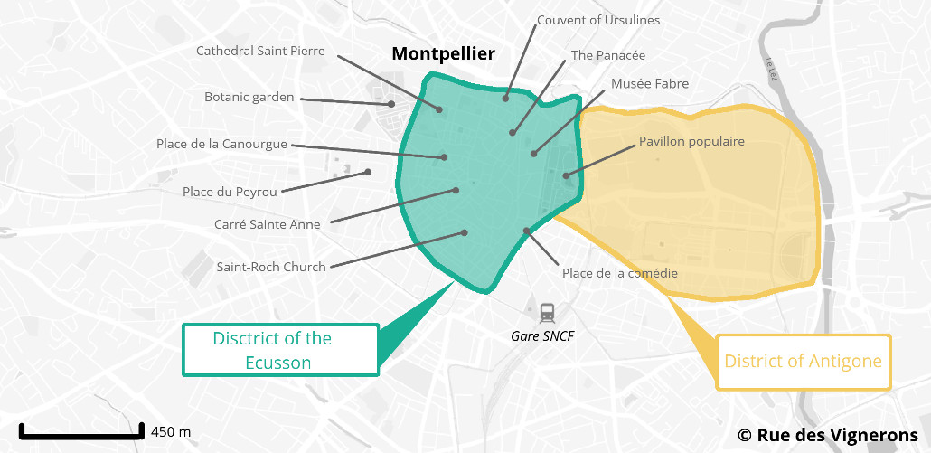 Tourist map of Montpellier France