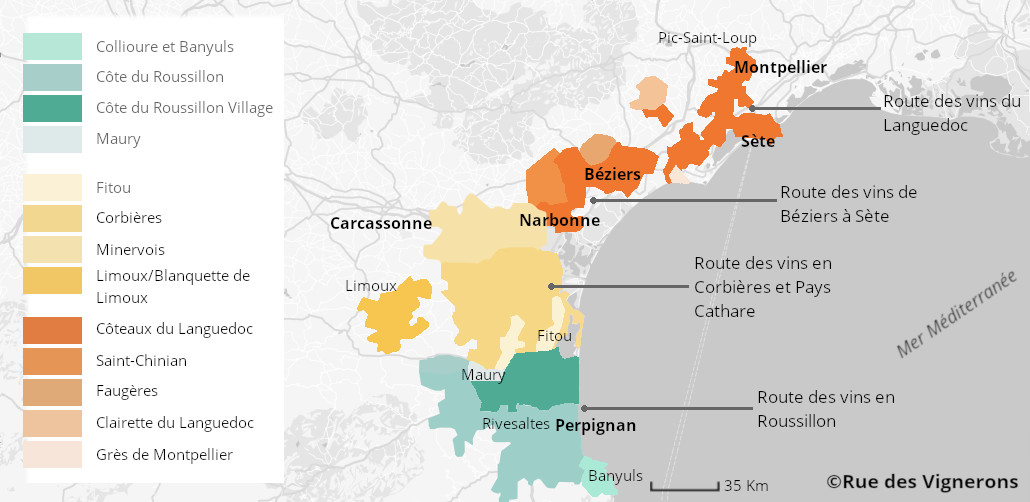 Appellations languedoc roussillon, languedoc roussillon, vignoble languedoc roussillon, carte route des vins languedoc roussillon, itinéraire languedoc roussillon route des vins