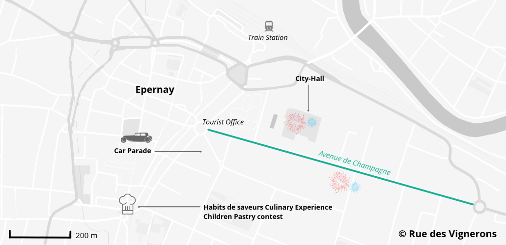 Epernay city map, epernay tourist map, epernay map habits de lumière, epernay map christmas
